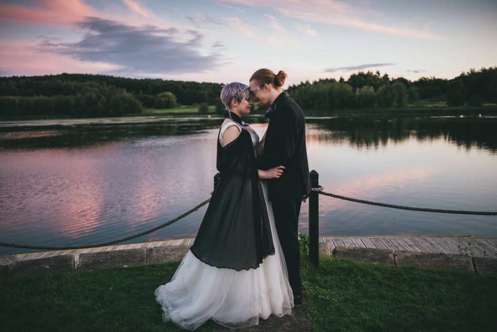 Waterton Park bride and groom have photos with wedding photographer